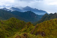 Beautiful view from the summit of the Fansipan Mountain, Sapa, V royalty free stock photos