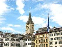 Beautiful view in sunny summer weather over Zurich stock photo