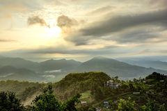 Beautiful view of sunrays on the mountain of pokhara Royalty Free Stock Photography