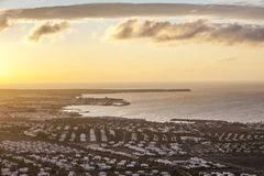 Beautiful view in sunrise to Playa Blanca Royalty Free Stock Images