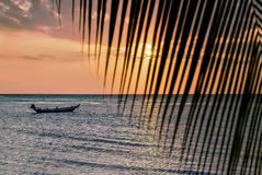 Beautiful view of sunset on the beach. Palm and boats in a sunlight.  Royalty Free Stock Images