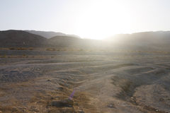 Beautiful view on the sunset behind hills surrounding the Dead Sea Stock Image