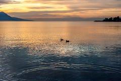 Beautiful view on sunset at Geneva Lake Royalty Free Stock Photography