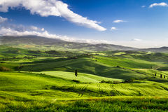 Beautiful view of the sunset over the valley in Tuscany stock images