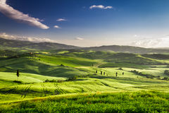 Beautiful view of the sunset over the valley in Tuscany Royalty Free Stock Photos