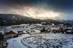 Beautiful view of sunset over the village in Austrian Alps Stock Image