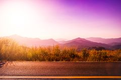 Beautiful view sunset on the road,nature landscape background Stock Photography