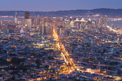 Beautiful View of Sunset in San Francisco from Twin Peaks and LG Royalty Free Stock Photos