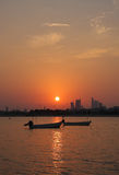 Beautiful view on sunset seen from Arad fort. Boats and bahrain skyline during sunset Stock Images