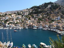 Beautiful view of Symi island in Greece stock images