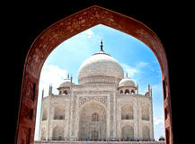 A beautiful view of Taj Mahal from Taj Mahal mosque. The Taj Mahal is a white marble mausoleum located in Agra, Uttar Pradesh, India. It was built by Mughal Royalty Free Stock Images