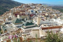 View from a terrace on the holy pilgrim town of Moulay Idriss with mausoleum of Moulay I, Meknes, Morocco, Africa stock image