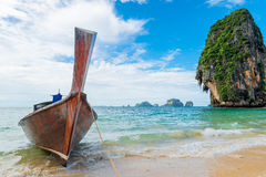 Beautiful view of the Thai boat and rocks Stock Image