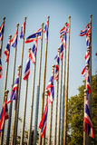 Beautiful view of Thai national flags on the poles at the Queen Royalty Free Stock Image