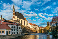 Beautiful view to castle in Cesky Krumlov Royalty Free Stock Photos