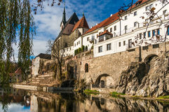Beautiful view to castle and river Vltava in Cesky Krumlov Royalty Free Stock Images