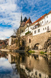 Beautiful view to castle and river Vltava in Cesky Krumlov Royalty Free Stock Photo