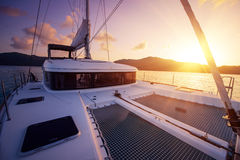 Beautiful view to catamaran in Seychelles bay at sunset Stock Photography