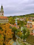 Cesky Krumlov Church Castle Day Autumn. Beautiful  view to church and castle in Cesky Krumlov, Czech Republic in cloudy day. Historic Krumlov Castle dating from Stock Images