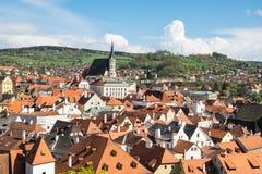 Historic center of Cesky Krumlov in Bohemia stock images