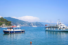 Beautiful view to city, beachline and ships cruising on water Royalty Free Stock Photo