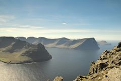 Beautiful view to the Islands Borðoy, Kunoy and Kalsoy of the Faroe Islands. royalty free stock photos