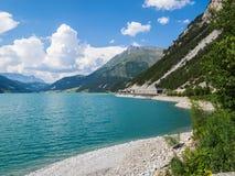 Beautiful view to Lago di Resia, Reschensee, Lake Reschen, Alto Adige, South Tyrol, Italy stock photo