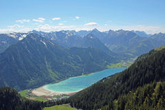 Beautiful view to lake achensee, austria. Beautiful view from above to lake achensee, austrian alps Stock Images