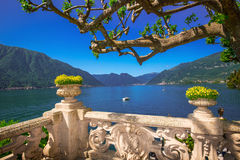 Beautiful view to Lake Como from Villa Balbianello. Beautiful view to Como lake and Alps from terrace Villa Balbianello, Italy. Villa was used for several films Royalty Free Stock Photography
