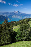 Beautiful view to Lucerne lake and mountain Rigi Stock Image