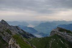 Beautiful view to Lucerne lake (Vierwaldstattersee), mountain Ri Stock Photo