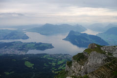Beautiful view to Lucerne lake (Vierwaldstattersee), mountain Ri Stock Photography