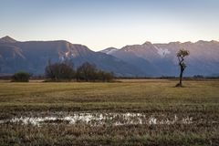 Beautiful view to the Murnauer Moos in Bavaria. While sundown, there is a beautiful light Royalty Free Stock Photo