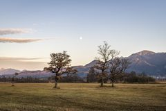 Beautiful view to the Murnauer Moos in Bavaria. While sundown, there is a beautiful light Stock Image