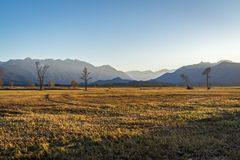 Beautiful view to the Murnauer Moos in Bavaria. While sundown, there is a beautiful light Stock Photography