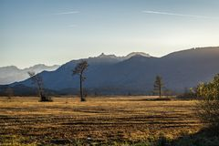 Beautiful view to the Murnauer Moos in Bavaria. While sundown, there is a beautiful light Royalty Free Stock Photography