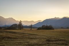 Beautiful view to the Murnauer Moos in Bavaria. While sundown, there is a beautiful light Royalty Free Stock Images