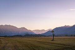 Beautiful view to the Murnauer Moos in Bavaria. While sundown, there is a beautiful light Royalty Free Stock Image
