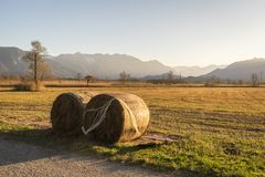 Beautiful view to the Murnauer Moos in Bavaria. While sundown, there is a beautiful light Royalty Free Stock Photos
