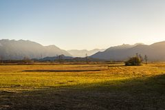 Beautiful view to the Murnauer Moos in Bavaria. While sundown, there is a beautiful light Stock Images