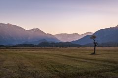 Beautiful view to the Murnauer Moos in Bavaria. While sundown, there is a beautiful light Stock Photo