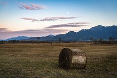 Beautiful view to the Murnauer Moos in Bavaria. While sundown, there is a beautiful light Stock Photos