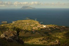 Beautiful view to neighbour island off Sao Miguel, Azores royalty free stock photo