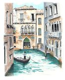 The beautiful view to one of the venetian canals royalty free illustration