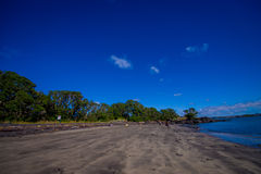 Beautiful view to Rangitoto Island from Karaka Bay Beach Auckland New Zealand in a blue sky in sunny day Stock Photography