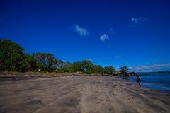 Beautiful view to Rangitoto Island from Karaka Bay Beach Auckland New Zealand in a blue sky in sunny day Royalty Free Stock Photo
