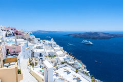 Beautiful View To The Sea And The Volcano From Fira Stock Photography