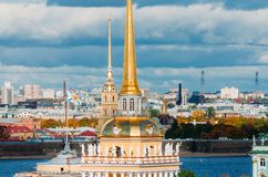 Beautiful View To Spires Of Admiralty And Peter-Pavel`s Fortress Stock Photos