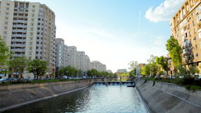 Beautiful View to the Street with River in Bucharest, the Capital of Romania stock footage