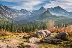 Beautiful view to the Tatras at sunset in autumn, Poland stock photography